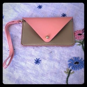 Peach and Gold Card Holder Wristlet